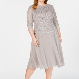 Alex Evening Sequined Lace Dress in Mink
